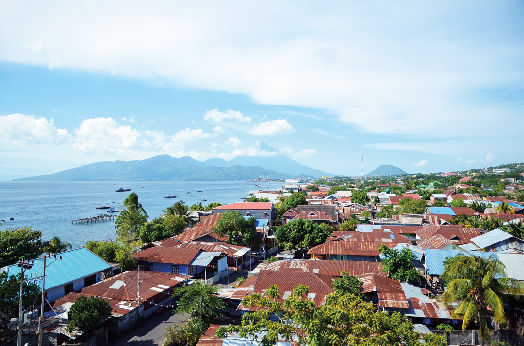 Ternate's bustling town and the neighboring island of Tidore as seen from Fort Tolukko.