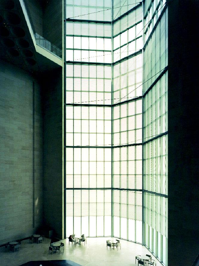 Soaring windows in the atrium.