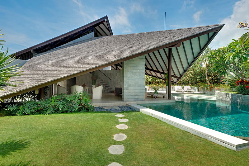 Sail-inspired roofs are a hallmark throughout the property.