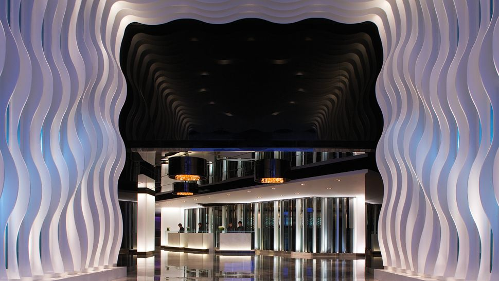The lobby of The Mira in Hong Kong.