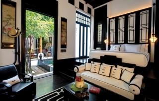 A classic black-and-white theme runs through the boutique hotel's design.