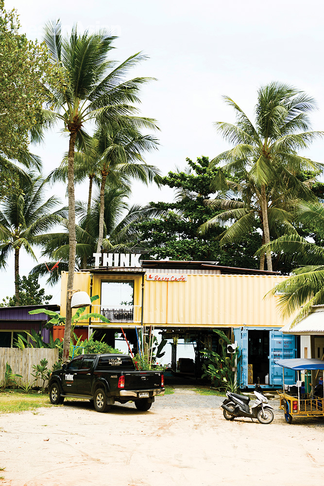 Think on Lipa Noi Beach comprises a cafe and guest cottages made from converted shipping containers.