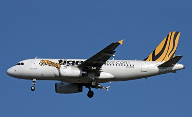 A Tiger Airways plane