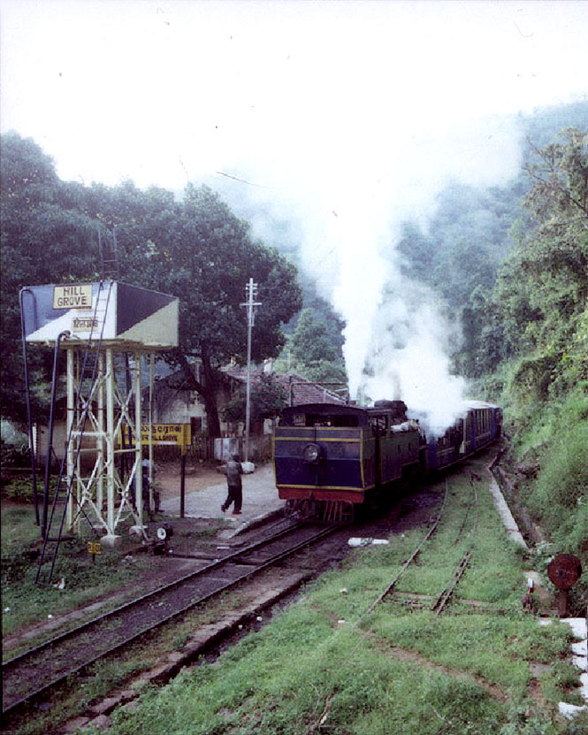 """The """"toy train"""" pulls into Hillgrove station on its way to Coonoor."""