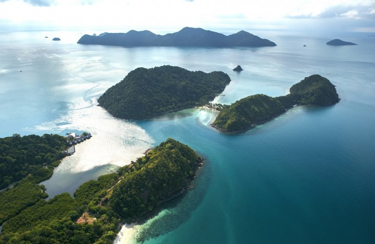 A bird's-eye view of the islands in Thailand's Trat province.