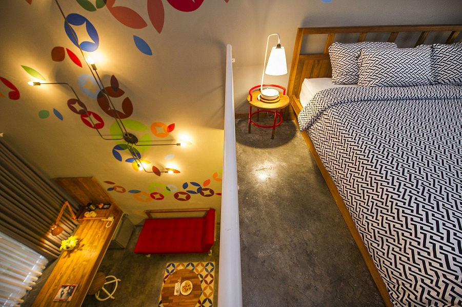 The two-floor Type B room is the most spacious with a lofted bed and downstairs living area.