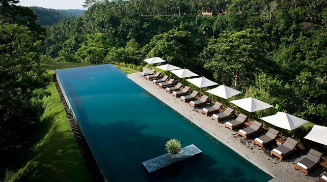 Five great jungle fringed pools at resorts in ubud bali for Pool design bali