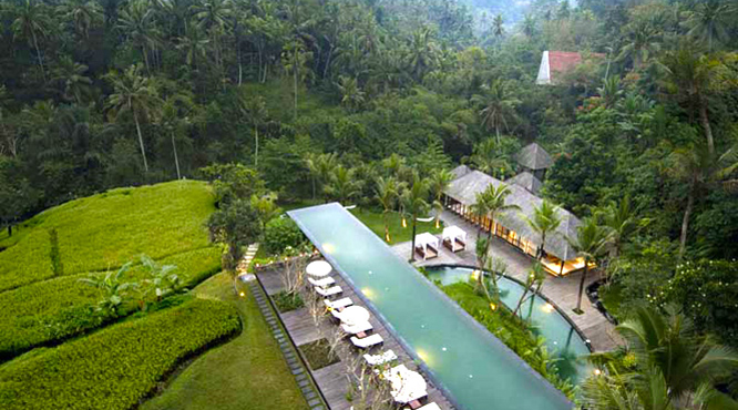 The pool at Komaneka at Bisma resort in Bali.