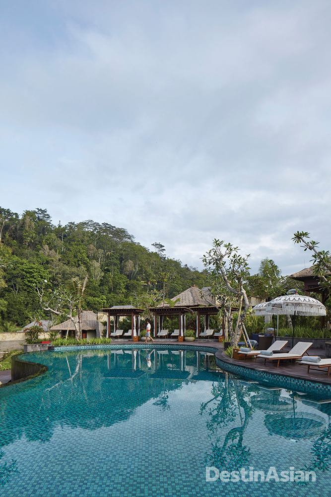 The swimming pool at Mandapa, a Ritz-Carlton Reserve.