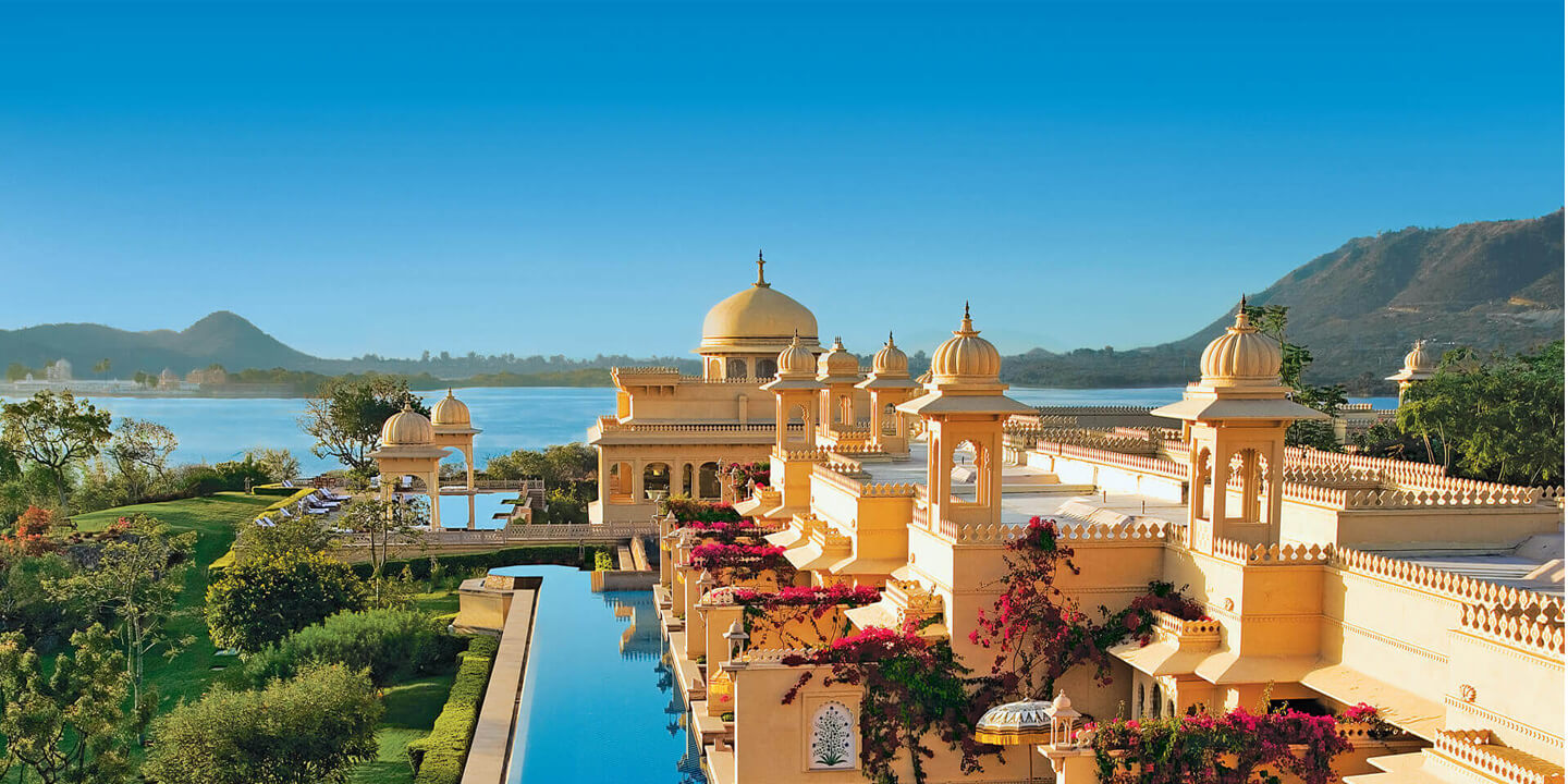 A view of the magnificent Udaivilas pool that faces the