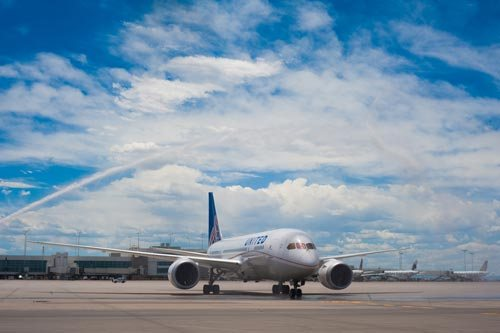 United is the first airline to use the Dreamliner on an international route after the January grounding.