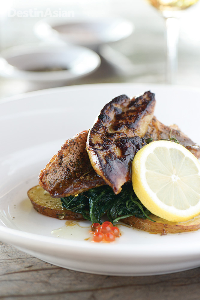 Foie gras at Panali, Vana Belle's beachfront Italian restaurant.
