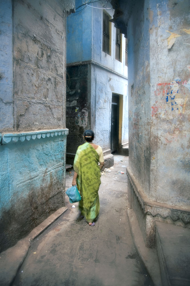 Varanasi's old city is a maze of narrow brick lanes.