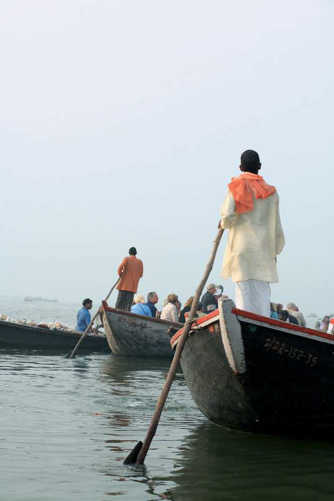 Tour boats on the sacred Ganges.