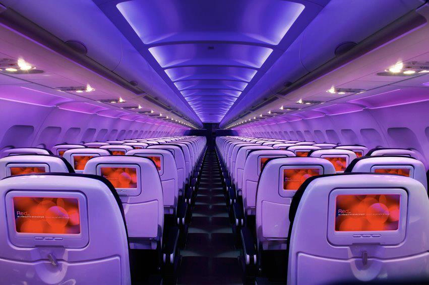The iconic interior of Virgin America.