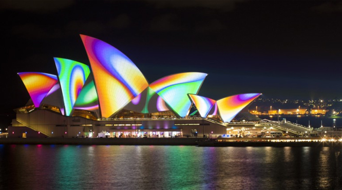 Sydney's opera house lit up during the Vivid Sydney event.