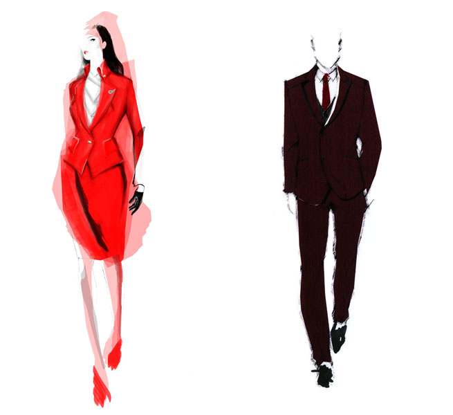 The sketches of Virgin Atlantic's new uniform.
