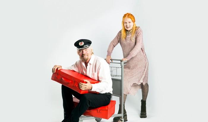 Richard Branson and Vivienne Westwood model the new look for Virgin Atlantic.