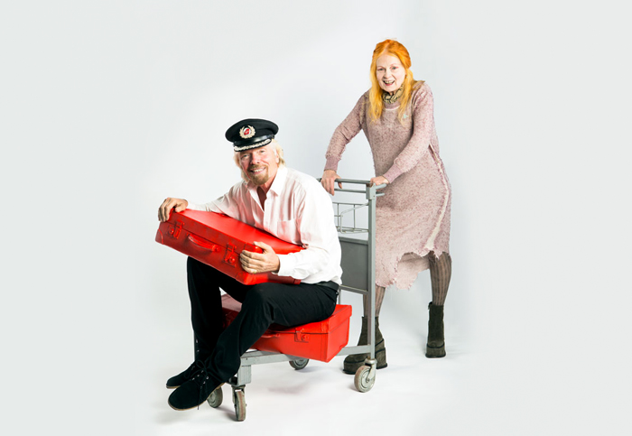 Richard Branson and Vivienne Westwood model the new look for Virgin Atlantic.