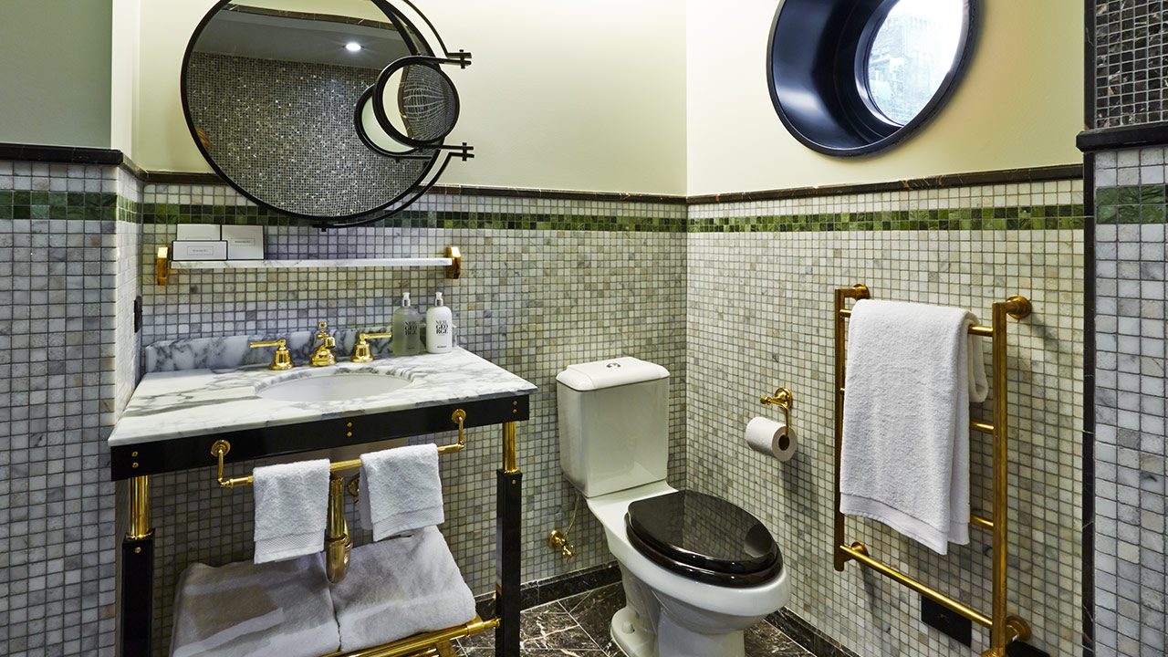 The elegantly tiled bathrooms at the Viceroy New York.