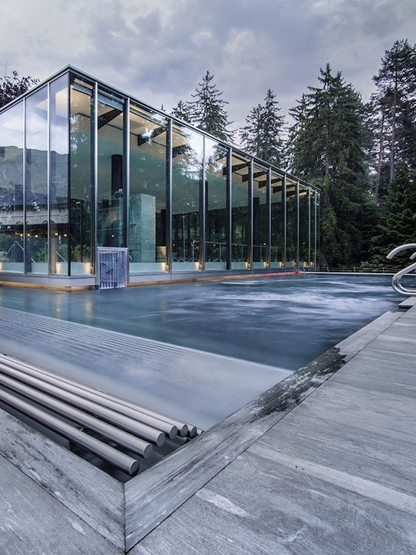 View of the indoor pool from the outside