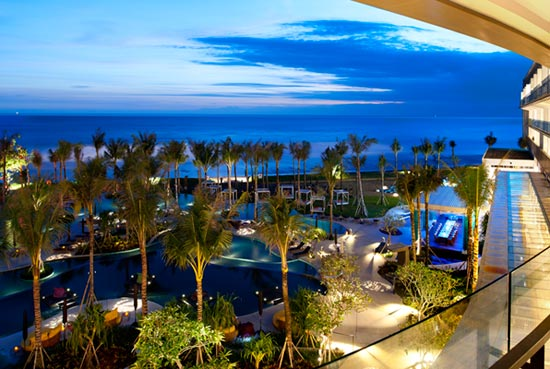 A view of the W Bali pools.