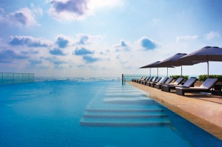 The hotel's infinity pool.