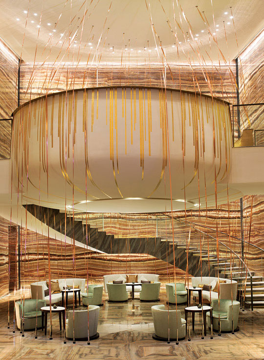 The impressive lobby of the W Guangzhou features a 19-meter-tall waterfall.