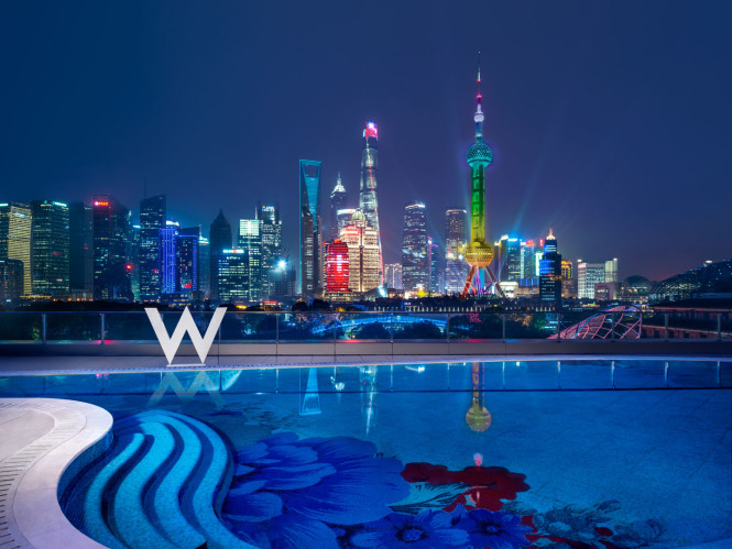 The hotel's pool, which offers sweeping views of Shanghai.