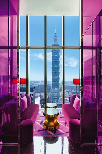 Taipei 101 views from the 31st-floor Yen Bar at W Taipei.
