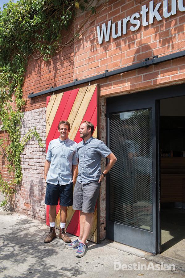 Tyler Wilson and Joseph Pitruzzelli at their Arts District sausage restaurant Wurstkuche.