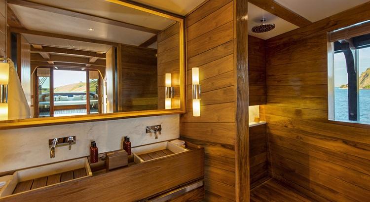 The shower room inside Amandira's master cabin.