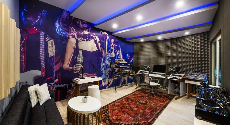 Inside Sound Suite's mixing room, which features sophisticated recording equipment.